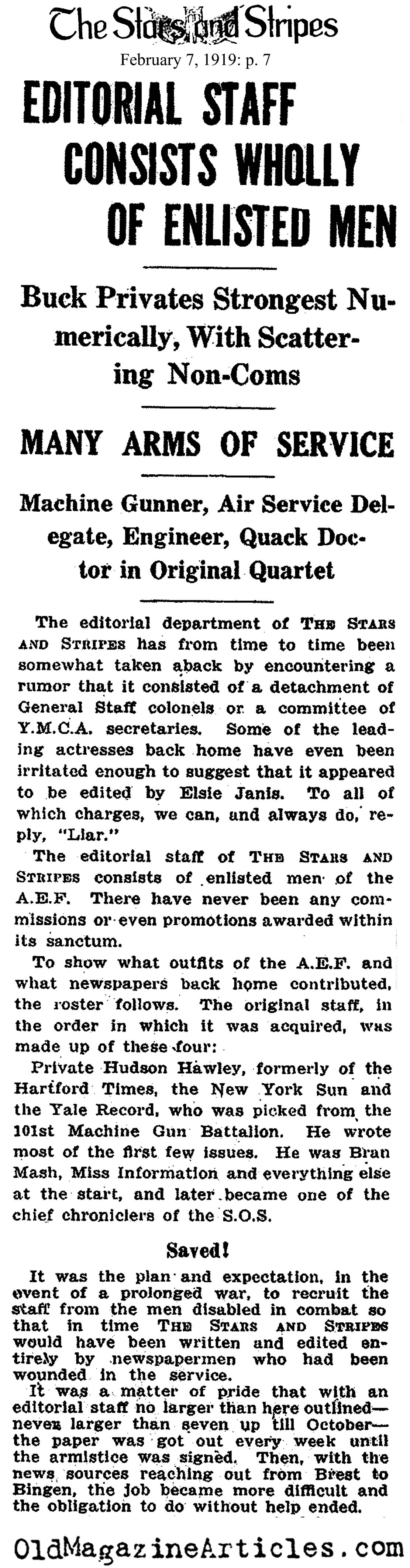 How the 'Stars & Stripes' Operated  (The Stars and Stripes, 1919)