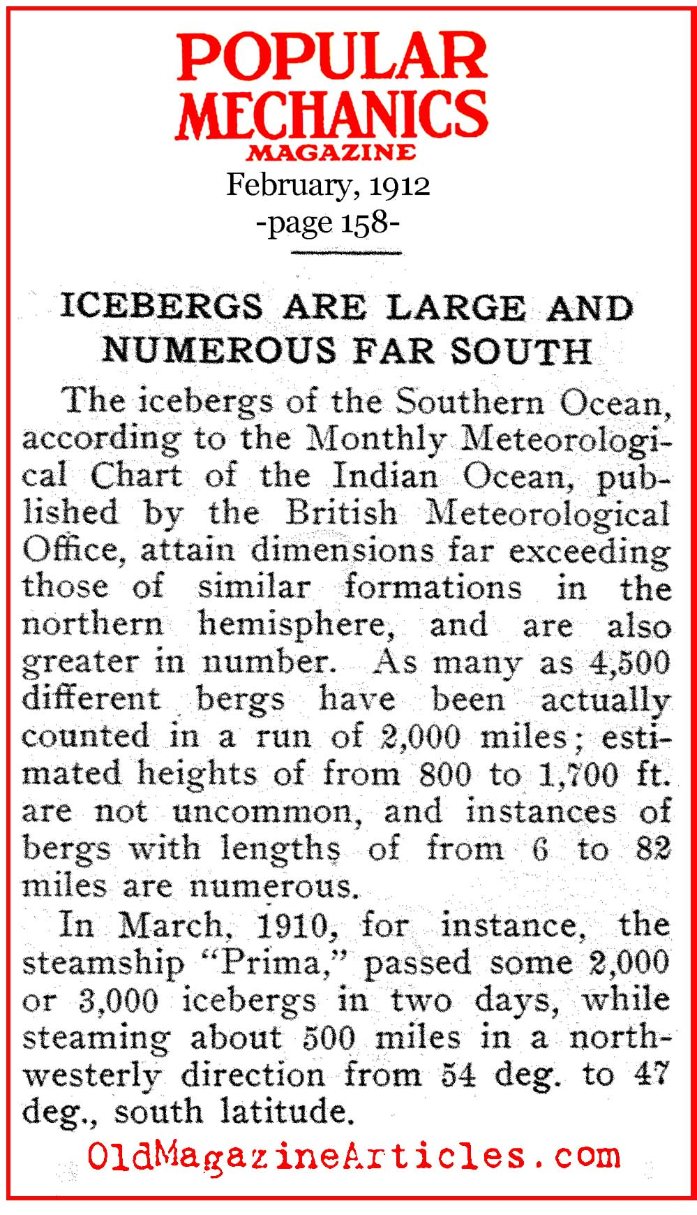 Iceberg Warnings as Early as January  (Popular Mechanics, 1912)