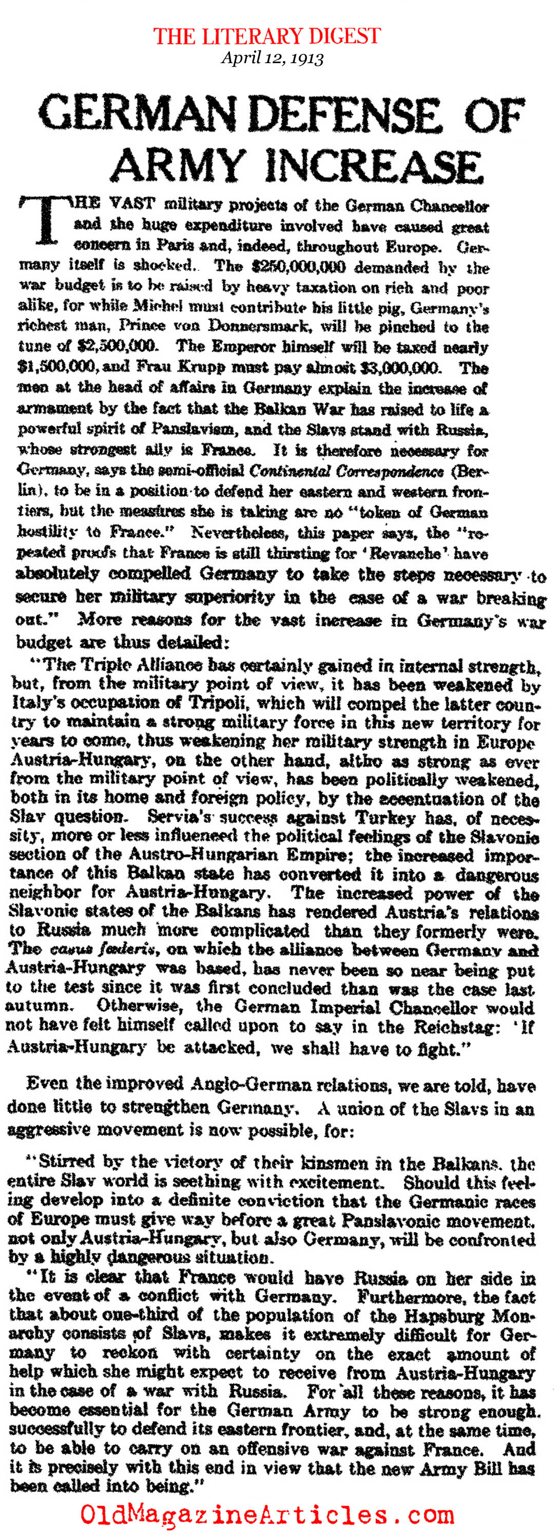 Germany Defends It's Military Build Up  (Literary Digest, 1913)
