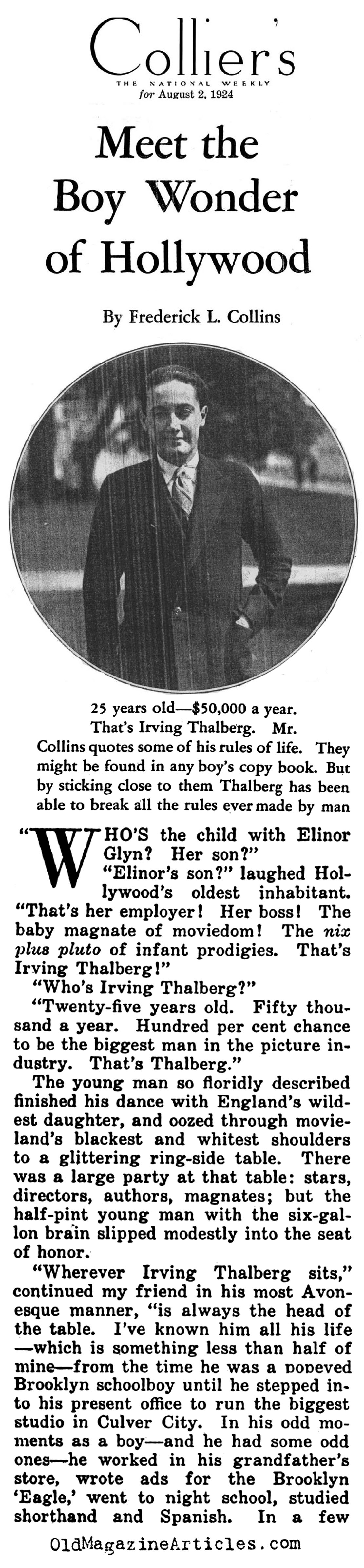 Irving Thalberg: Hollywood's Boy Wonder (Collier's Magazine, 1924)