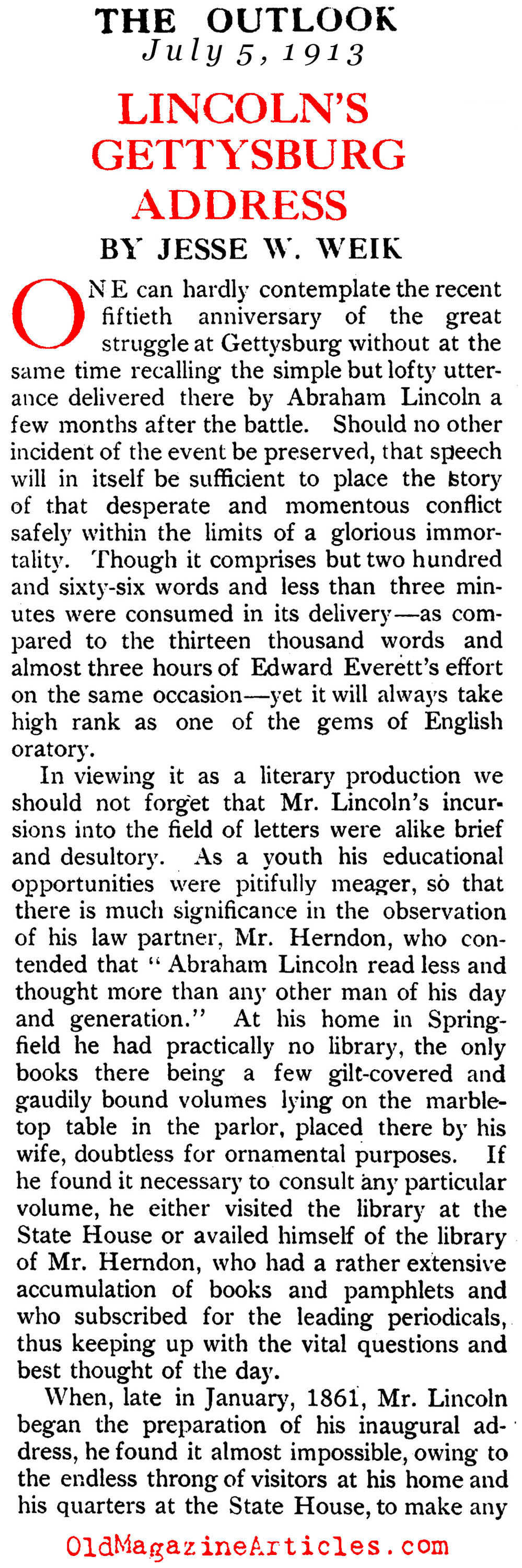 A Study of the Gettysburg Address   (The Outlook, 1913)