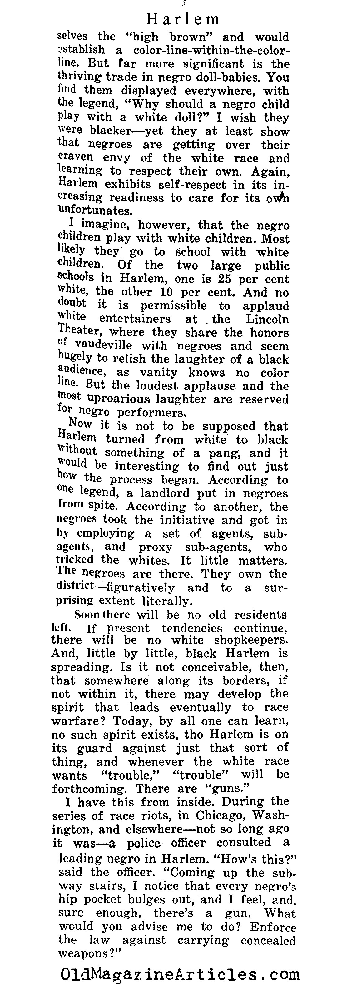 The Backdrop of the Harlem Renaissance   (The Independent, 1921)