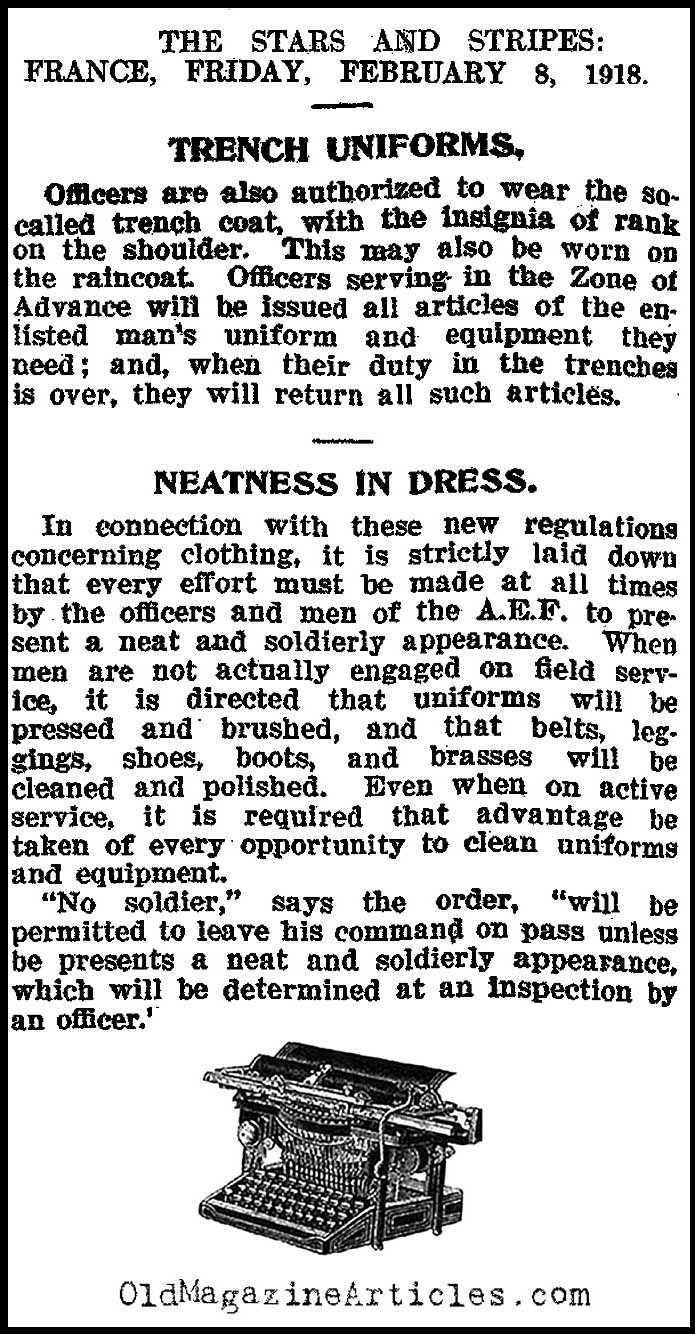 Officer's Dress Regulations & the Trench Coat  (The Stars and Stripes, 1918)