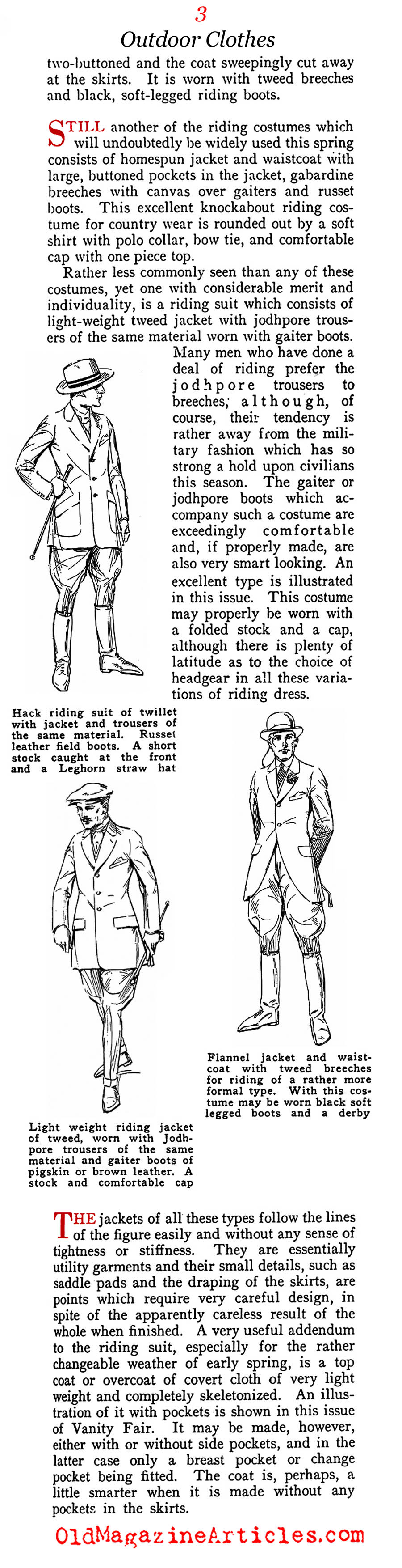 Man and Horse and Equestrian Clothing (Vanity Fair Magazine, 1918)