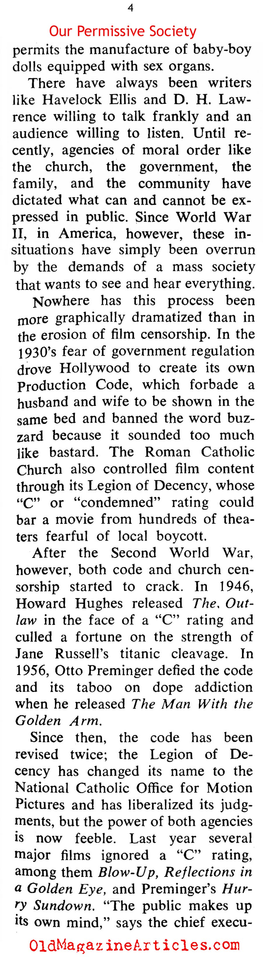 Nudity And Smut Becomes the Norm In American Pop-Culture (Coronet Magazine, 1968)