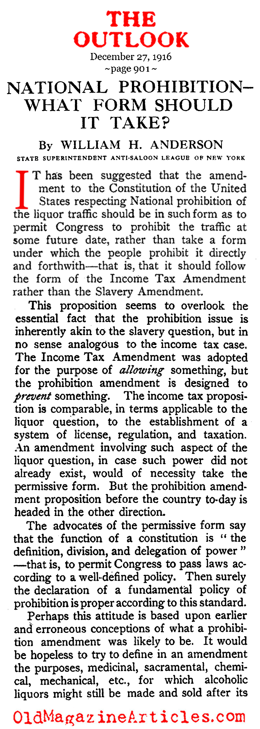 A Look at at  What  the  Prohibition  Amendment  Might Look Like  (The Outlook, 1916)