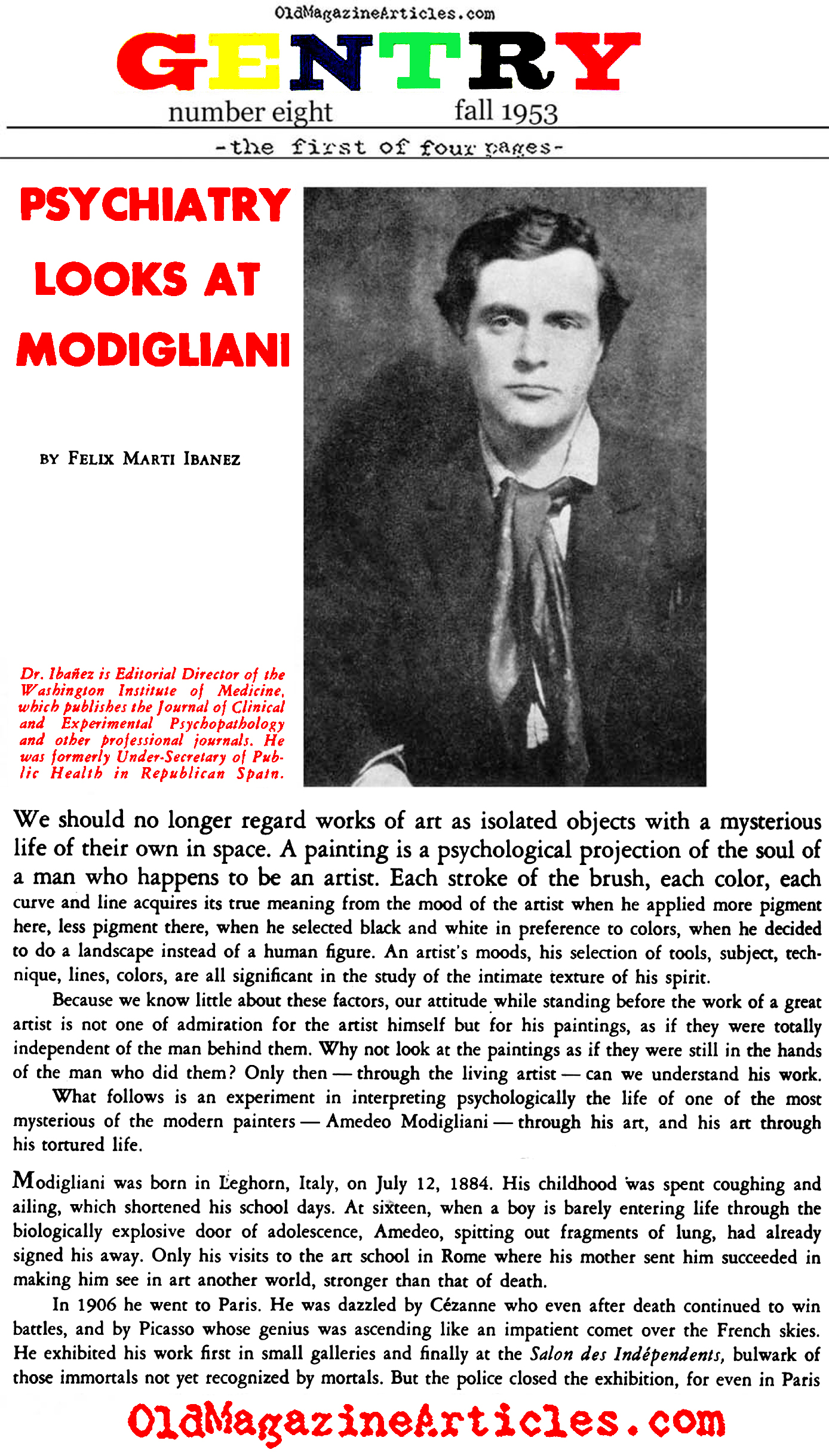 The Psycho-Sexual Struggle within Amedeo Modigliani (Gentry Magazine, 1953)