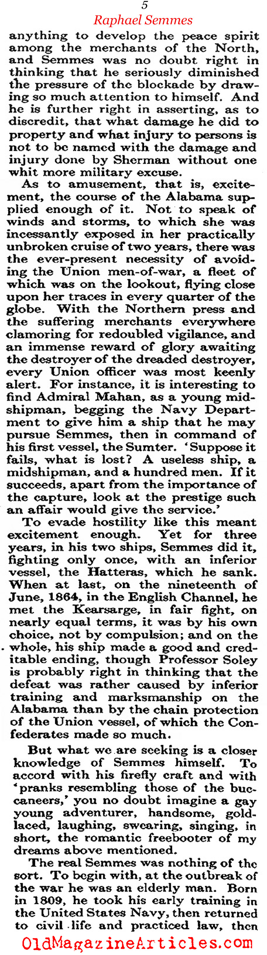 Civil War Pirate Raphael Semmes (Atlantic Monthly, 1913)