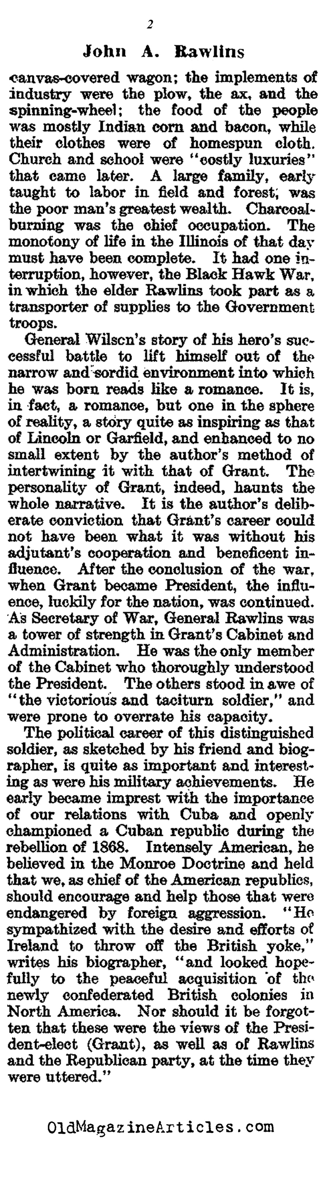 General John Rawlins: General Grant's Chief of Staff   (The Literary Digest, 1917)