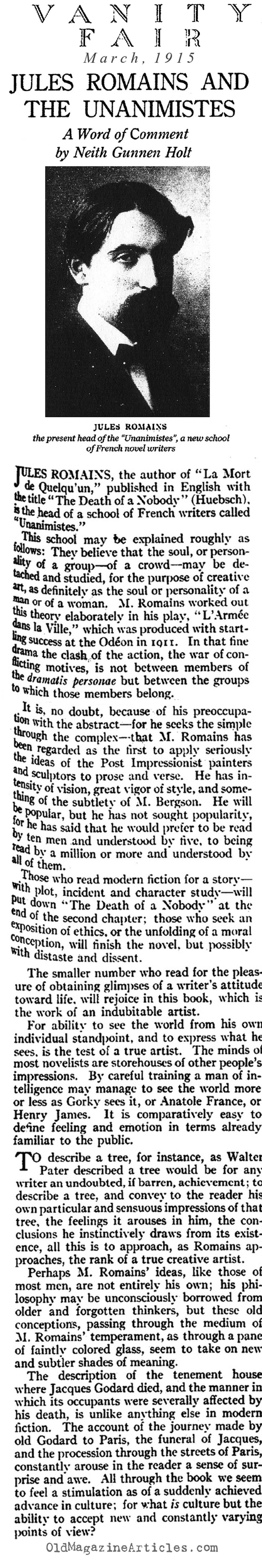 Jules Romains and THE DEATH OF NOBODY  (Vanity Fair, 1915)