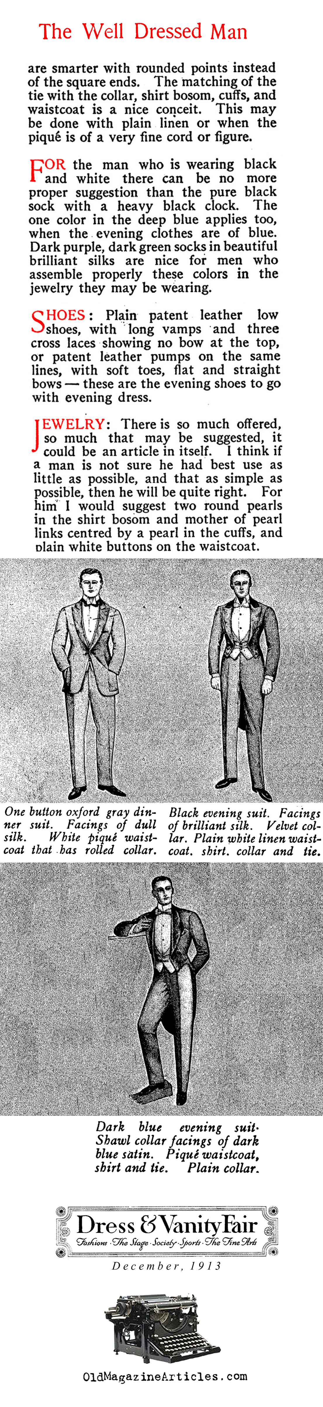 Sensible Rules for Men's Evening Clothes  (Vanity Fair Magazine, 1913)