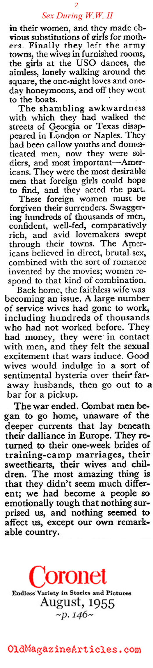 Sex During the Second World War (Coronet Magazine, 1955)