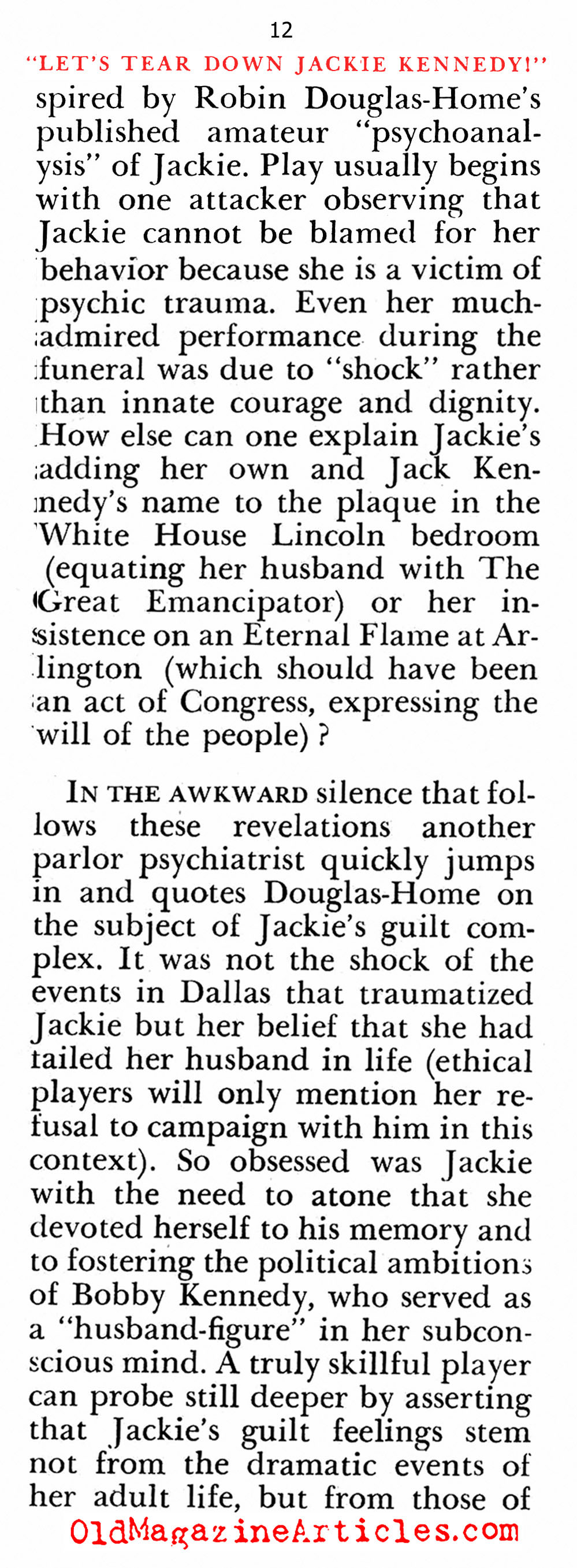 The Down-Grading of Jackie Kennedy (Pageant Magazine, 1967)