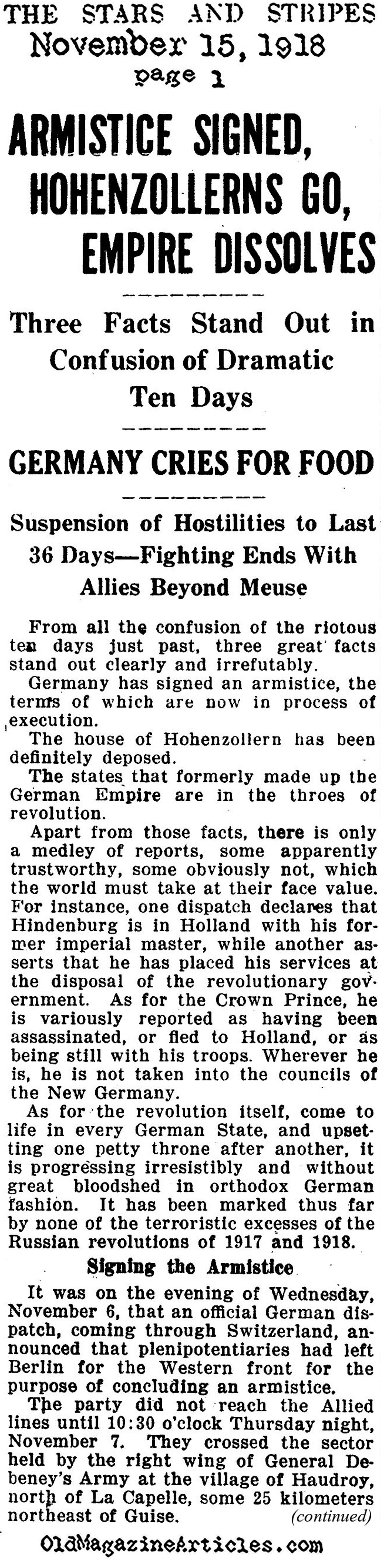 END OF THE FIRST WORLD WAR NEWSPAPER ARTICLE 1918,WW1 ARMISTICE ...