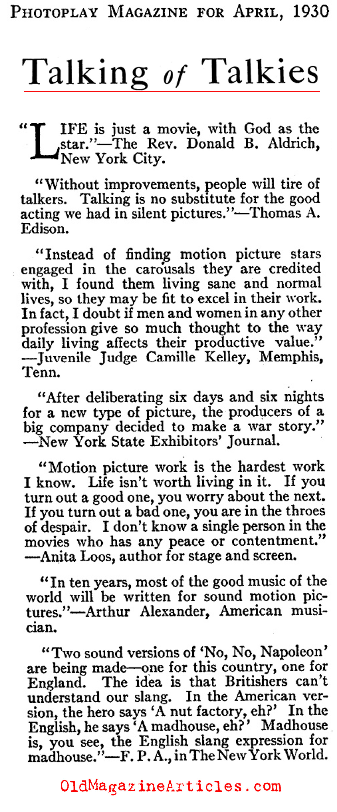 Various Remarks About the First Talkies (Photoplay Magazine, 1930)