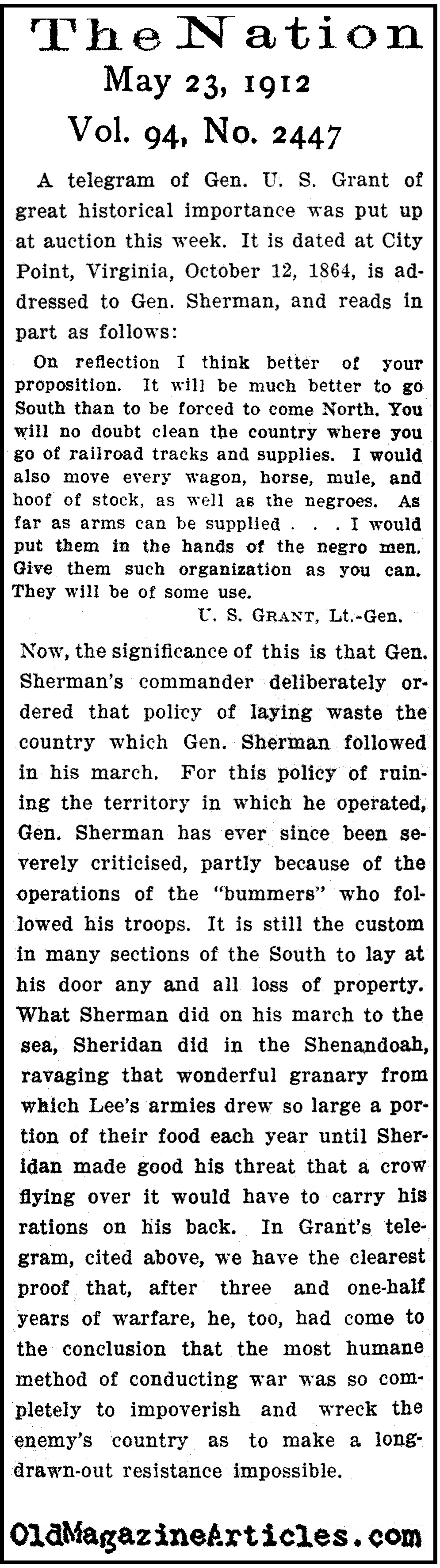 An Historic Telegram Addressed to General Sherman  (The Nation, 1912)