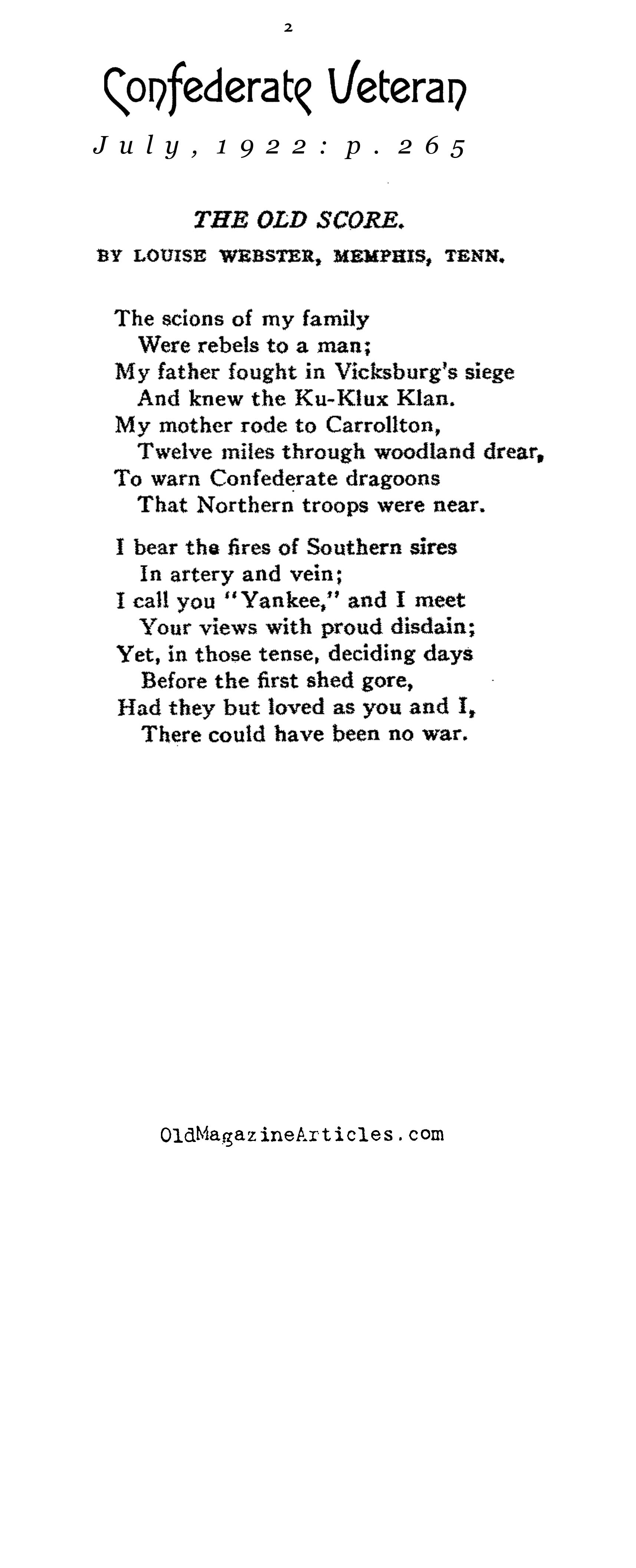 Two Civil War Poems (Confederate Veteran, 1922)