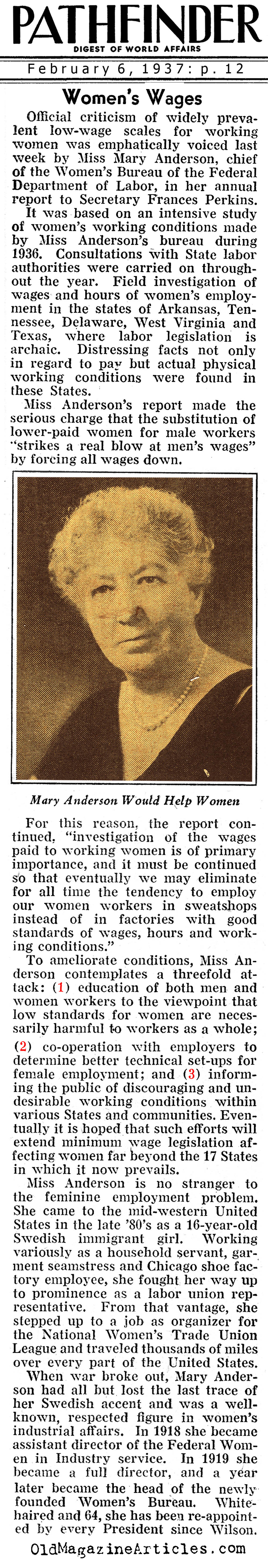 Low-Wage Pay Scales for Working Women (Pathfinder Magazine, 1937)