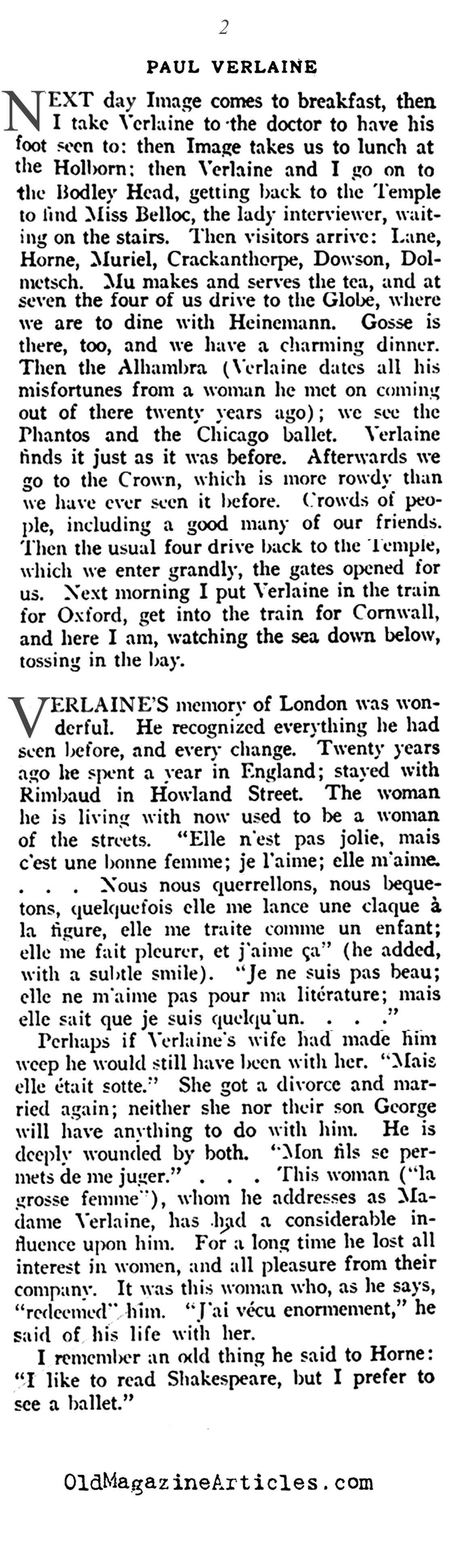 ''Paul Verlaine in London''  (Vanity Fair Magazine, 1916)