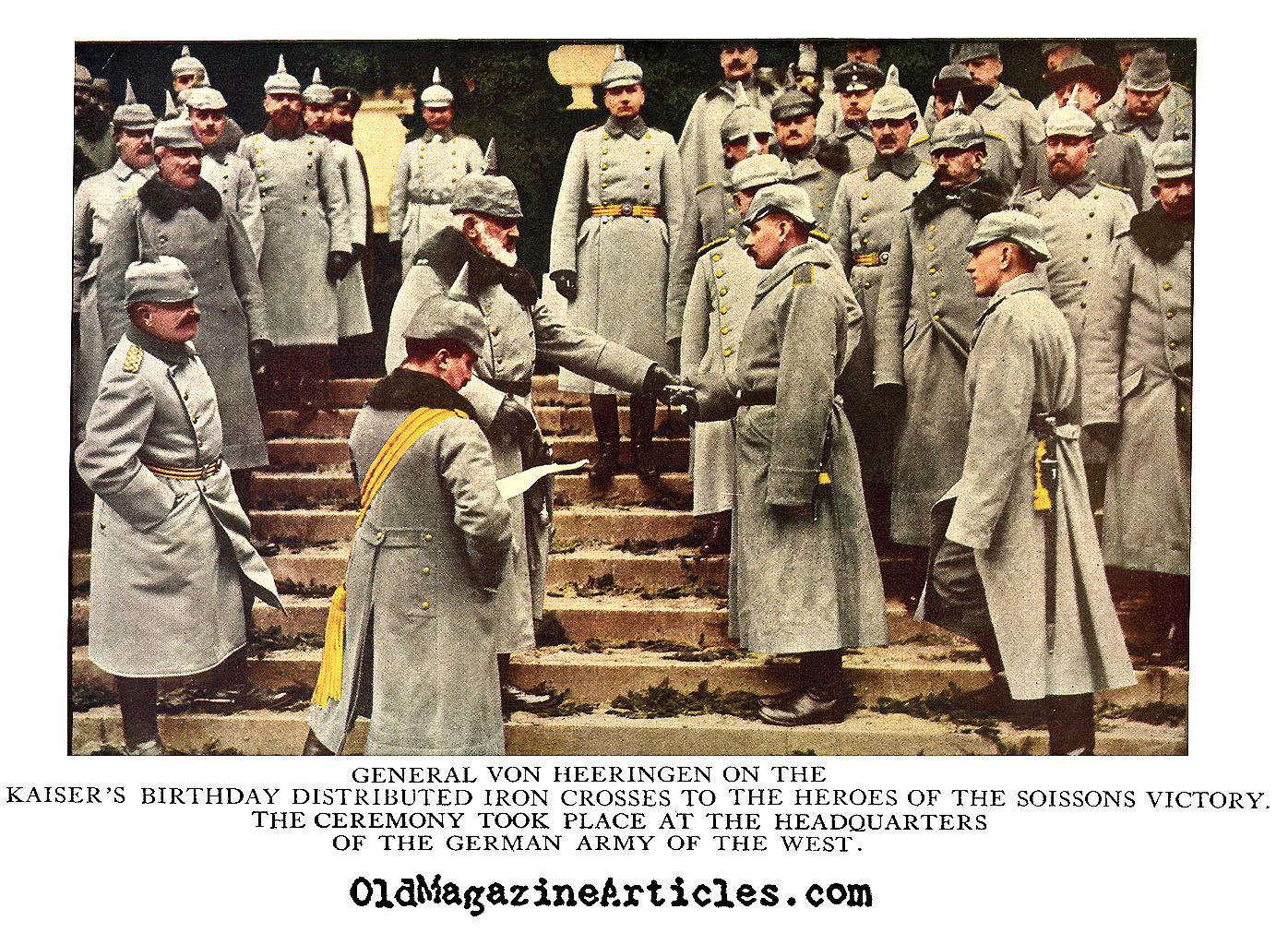 WW1 GERMAN GENERAL VON HEERINGEN TINTED PHOTOGRAPH,HAND TINTED