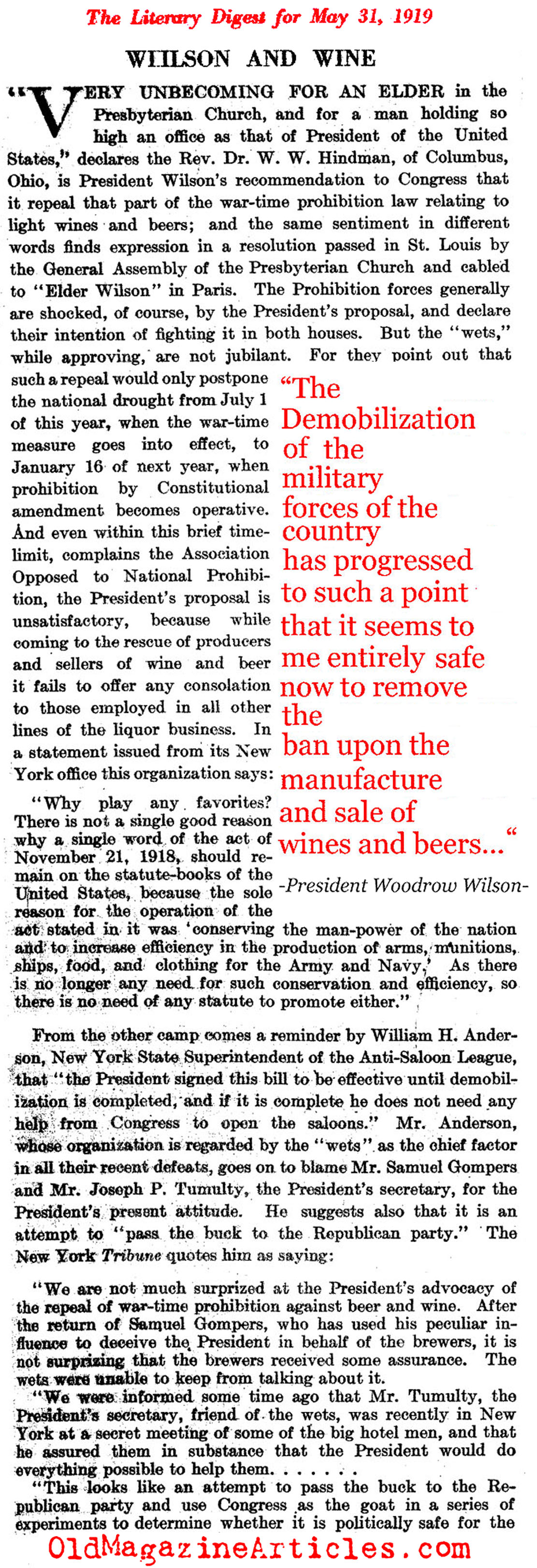 Woodrow Wilson and the Repeal of Prohibition  (Literary Digest, 1919)