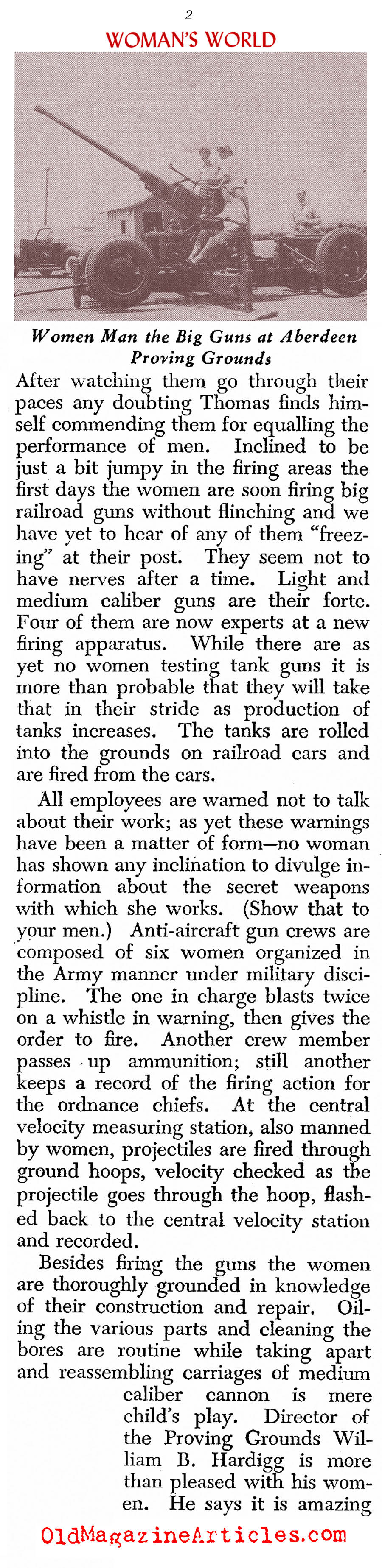 Women Behind the Guns (Assorted Magazines, 1942)