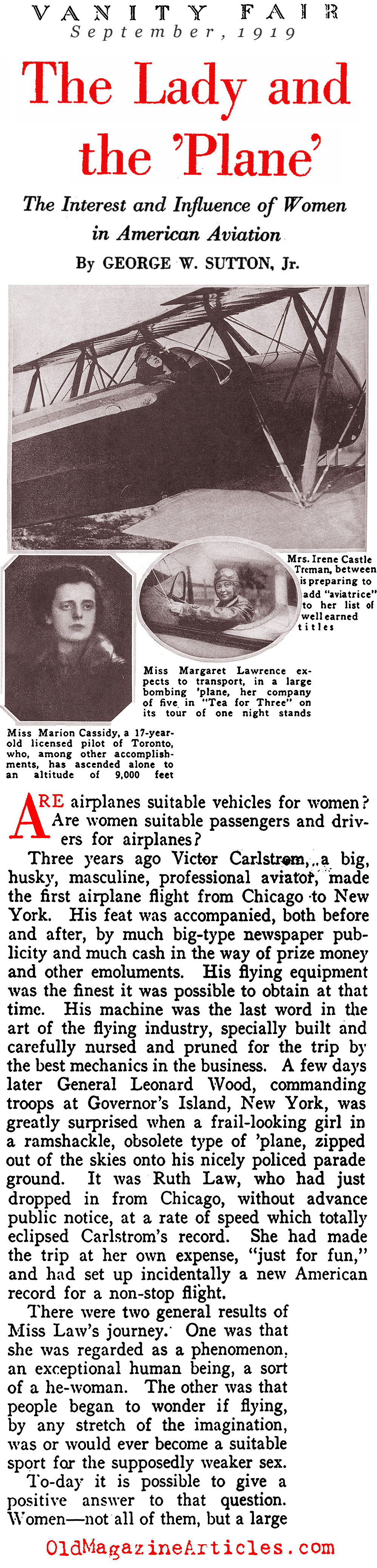 ''The Lady and the Plane'' (Vanity Fair, 1919)