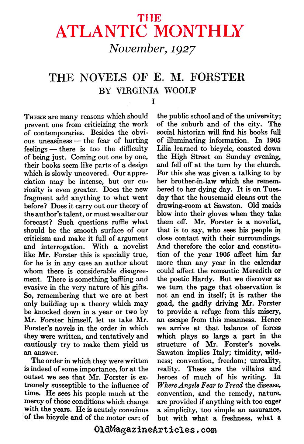 Virginia Woolf Reviews E.M. Forster (Atlantic Monthly, 1927)