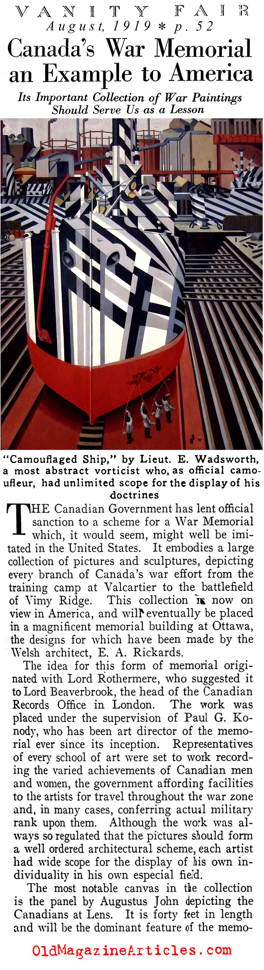 W.W. I Art and the Canadian War Memorial (Vanity Fair Magazine, 1919)