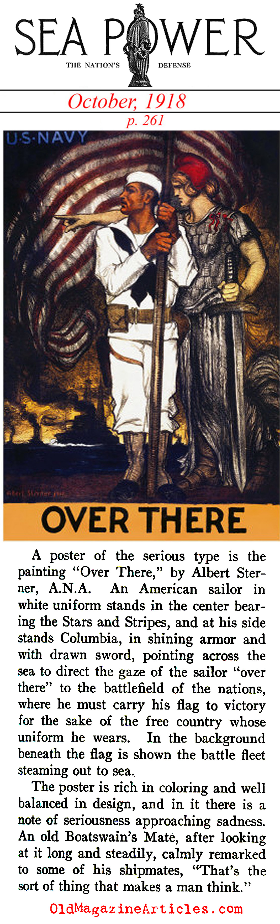 'Over There' by Albert Sterner (Sea Power Magazine, 1918)