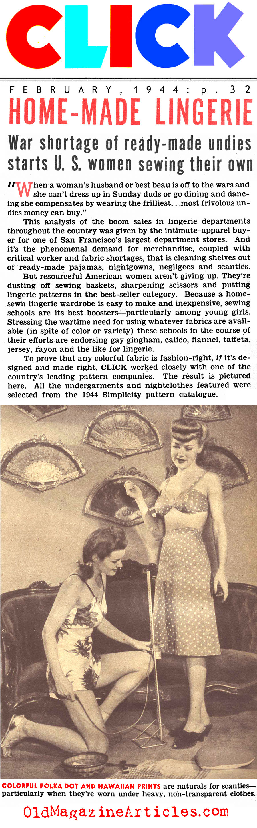 Home Front Lingerie (Click Magazine, 1944)