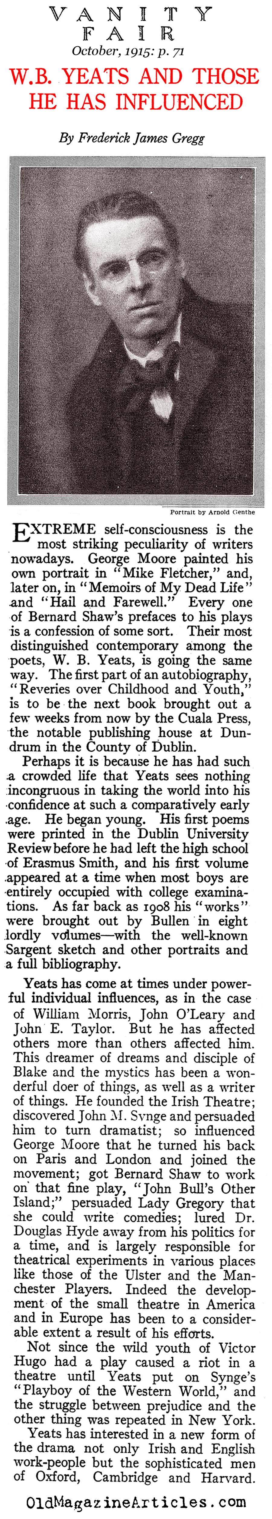 ''W. B. Yeats and Those He Has Influenced'' (Vanity Fair,1915)